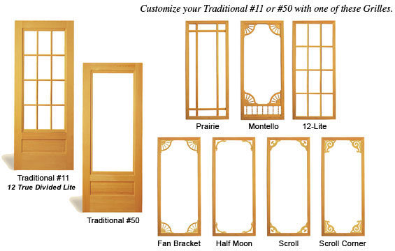 Cdc door styles grille designs for Door and screen door combo